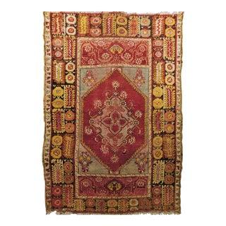 1900 Antique Ushak Wool Rug For Sale
