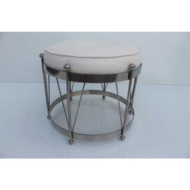 George Koch Mid-Century Vinyl & Chrome Drum Stool For Sale - Image 9 of 11