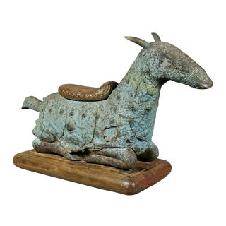Asian Carved and Molded Figure of Goat For Sale