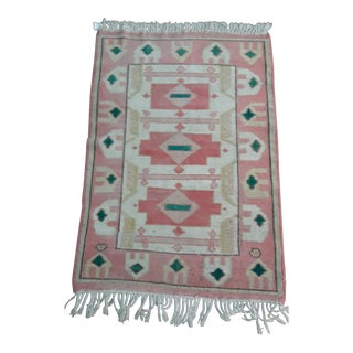 "Vintage Turkish Handwoven Wool Rug-3'2'x4'5"" For Sale"