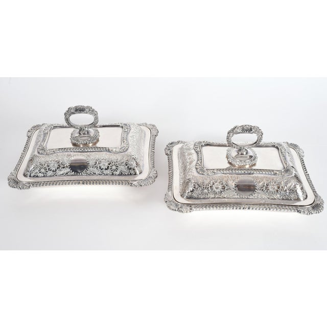 Metal English Silver Plated Tableware Serving Dishes (2 Available) For Sale - Image 7 of 12