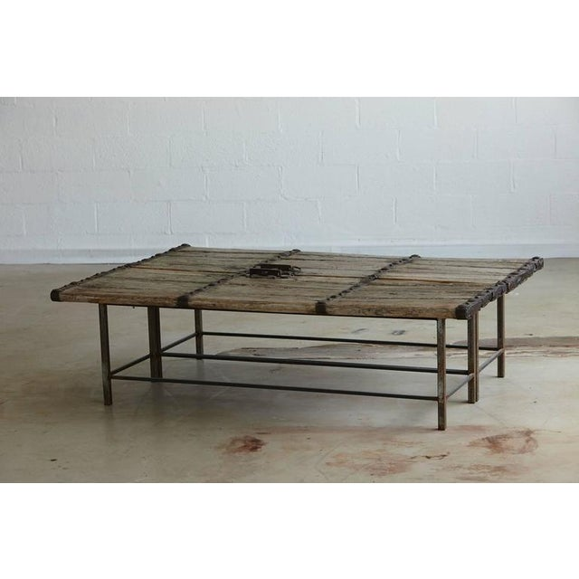 Superb Low Antique Chinese Gate Doors Coffee Table On CustomMade - Welded table base
