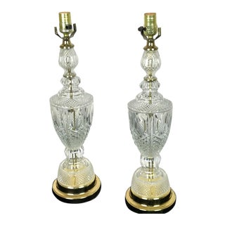 Vintage Cut Glass Urn Shape Table Lamps - a Pair For Sale