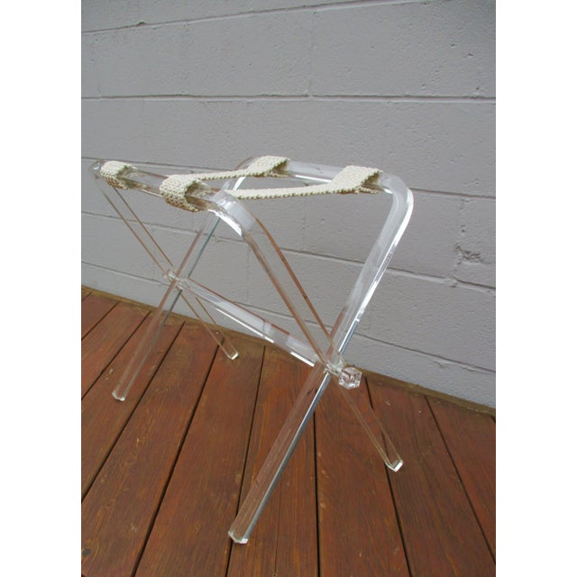 Lucite Mid-Century Modern Lucite Folding Luggage Rack For Sale - Image 7 of 9