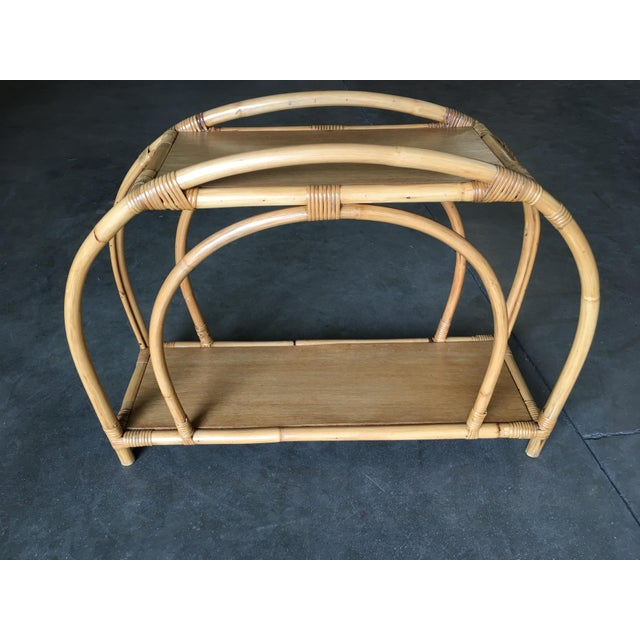 """Mid-Century Modern Restored Rattan """"Double Arch"""" Side Table With Two-Tier Mahogany Tops, Pair For Sale - Image 3 of 7"""