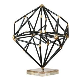 Vintage Modernist Abstract Black Metal Art Sculpture For Sale