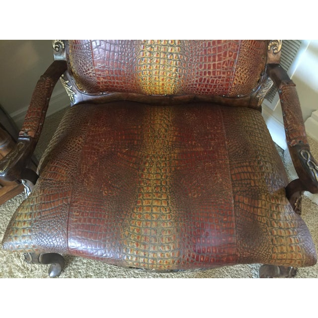Embossed Leather Crocodile Pattern Accent Chair For Sale - Image 4 of 6