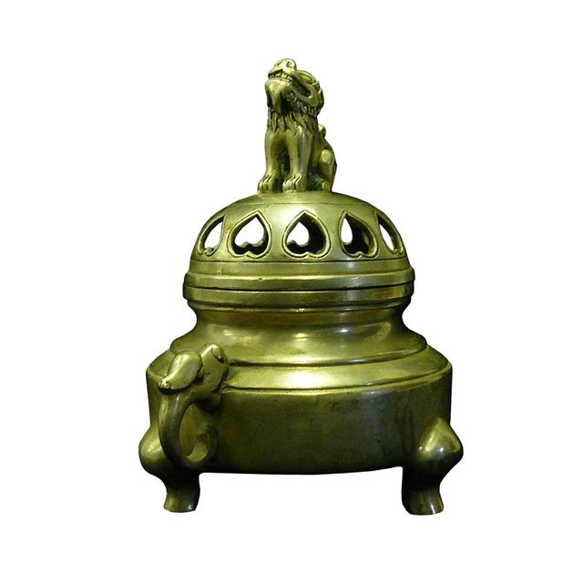 Chinese Silver Color Round Incense Burner - Image 3 of 5