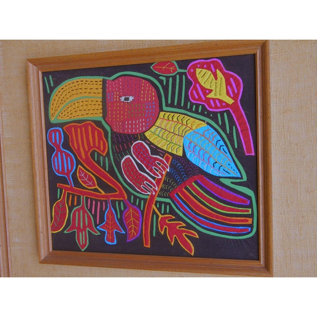 Boho Chic Mid-Century Framed Kuna Mola Textile Art For Sale - Image 3 of 5