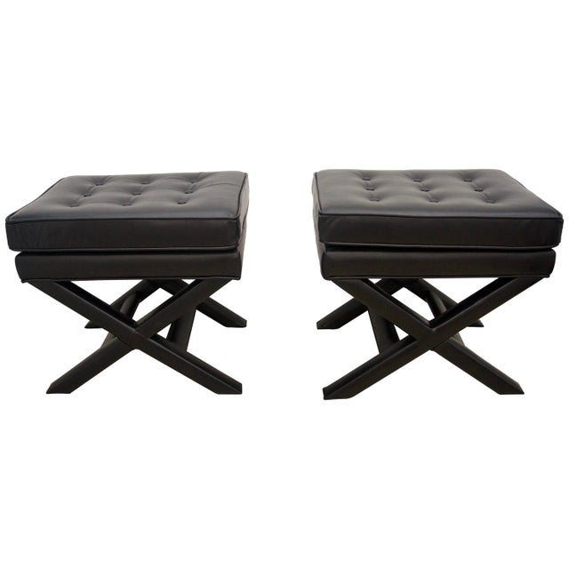 Modern Black Leather X Stools / Ottomans - a Pair For Sale In West Palm - Image 6 of 6