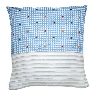 Triangles & Stripes Pillow Cover - Blue For Sale