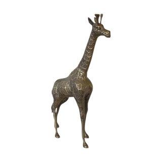 XL Vintage Brass Giraffe Figurine For Sale