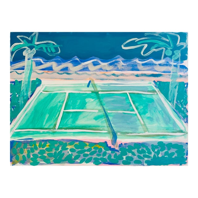 """""""Tennis Court in Waves"""" Contemporary Fauvist Style Sport Painting by Sally King Benedict For Sale"""