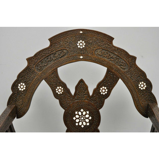 19th Century Mother of Pearl Inlay Syrian Savonarola Curule Throne Arm Chairs- A Pair For Sale - Image 4 of 12
