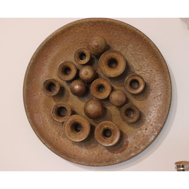 Earthenware Round Motif Wall Signed Sculpture Midcentury Italy For Sale - Image 9 of 11