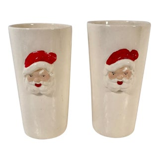 Vintage Ceramic Santa Tumblers - a Pair For Sale