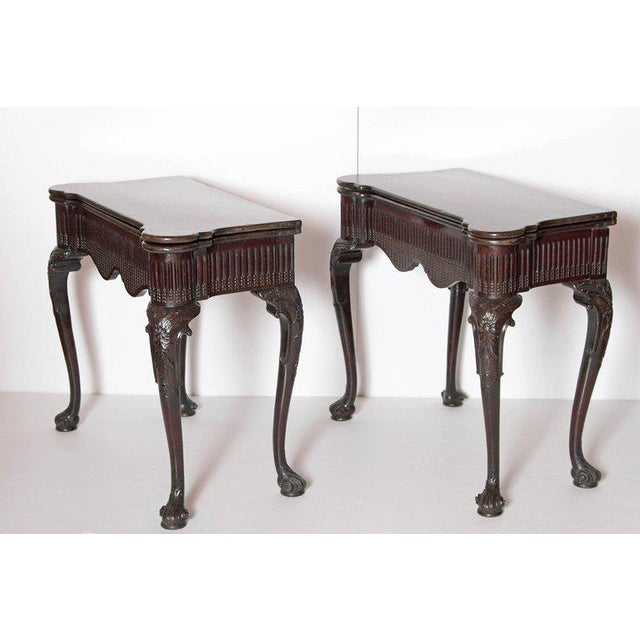 Chippendale Pair of Irish Chippendale Carved Mahogany Concertina Card Tables For Sale - Image 3 of 12