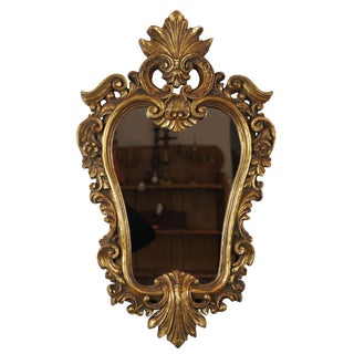 Late 20th Century Vintage French Baroque Inspired Bathroom Wall Mirror For Sale