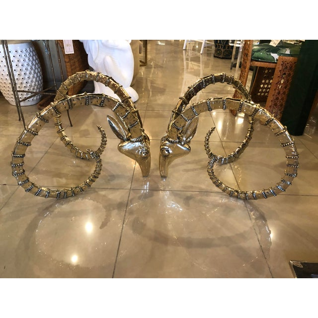 1970s Vintage Hollywood Regency Brass Ibex Rams Head Cocktail Coffee Table -A Pair For Sale - Image 5 of 13