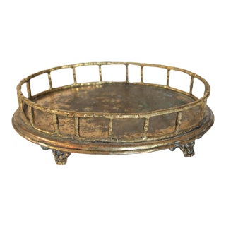 Vintage Footed Faux Bamboo Brass Tray For Sale
