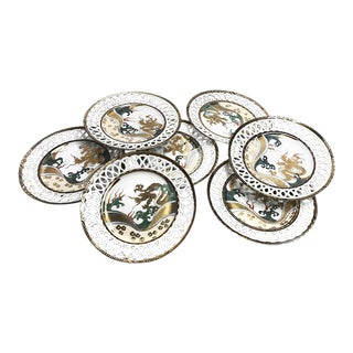 1910s Antique Chinese Gilded Dragon Porcelain Plates - Set of 7 For Sale