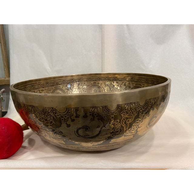 Mid 20th Century Hand Made Singing Bowl with Mallet - 2 Pieces For Sale - Image 9 of 13