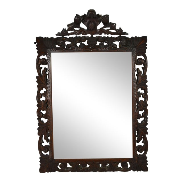 19th Century Carved Oak Wall Mirror For Sale