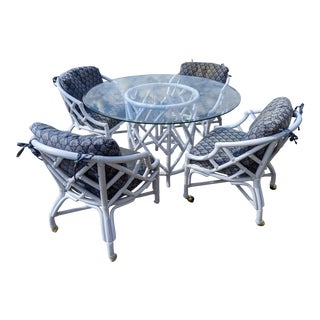 1950s Bentwood Rattan White Patio Dining Set - 5 Pieces For Sale