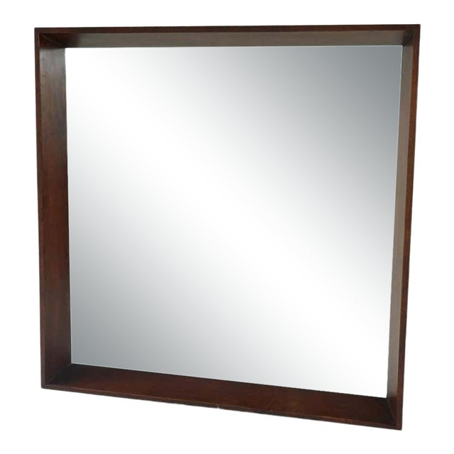 Gilbert Rohde for Herman Miller Square Heavy Walnut Frame 1940s Wall Mirror For Sale