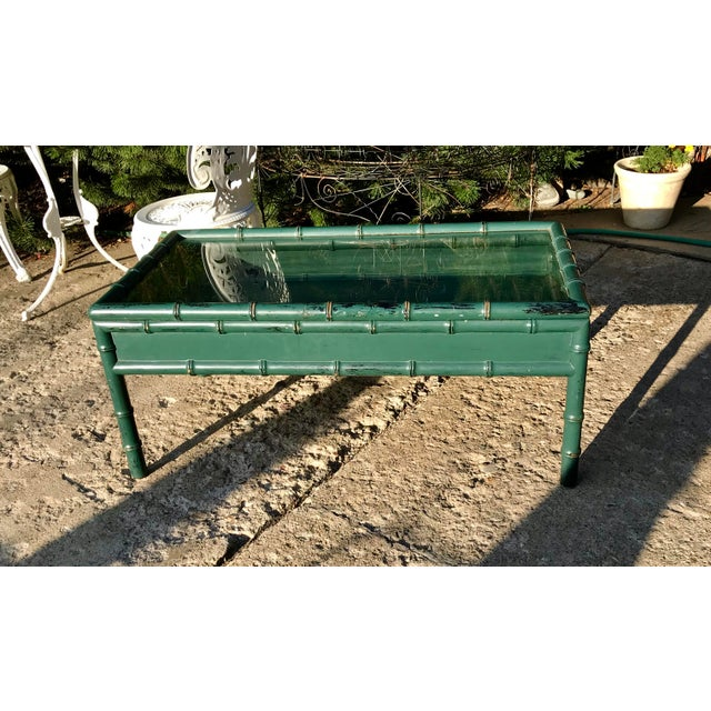 1950s Vintage Hunter Green Faux-Bamboo Coffee Table For Sale - Image 5 of 6