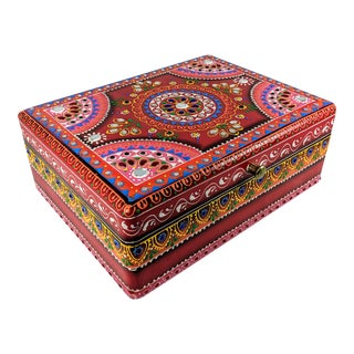 Moroccan Hand Painted and Hand Decorated Indian Decorative Wooden Box For Sale