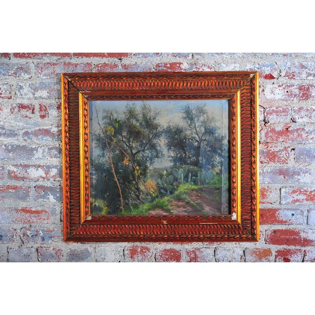 """Sicilian countryside landscape original c. 1900s oil painting on canvas by Nicola Biondi. Oil on Canvas size about 20x24""""...."""