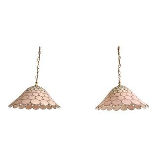 Ombre Capiz Pendant Lights - a Pair For Sale