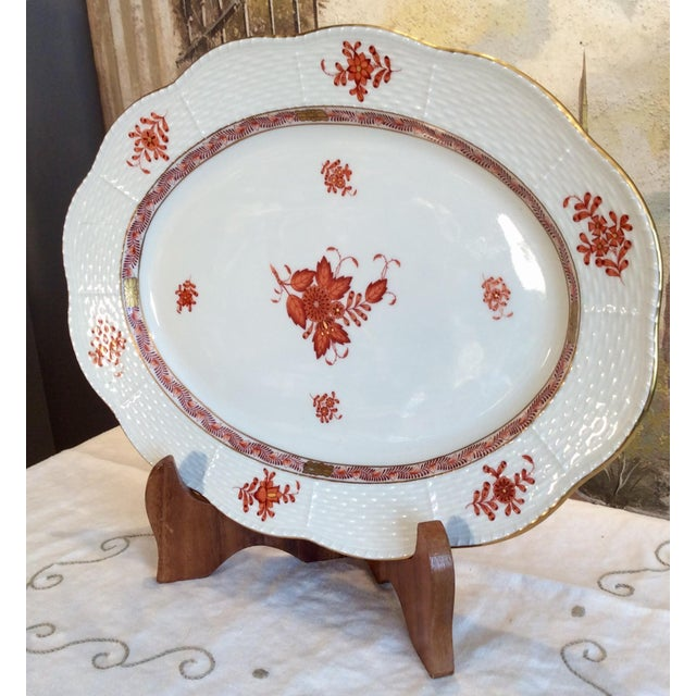 """This is an Oval Herend Platter in the Chinese Bouquet Pattern with rust color and wavy edge. It measures 13.5 wide x 10""""..."""