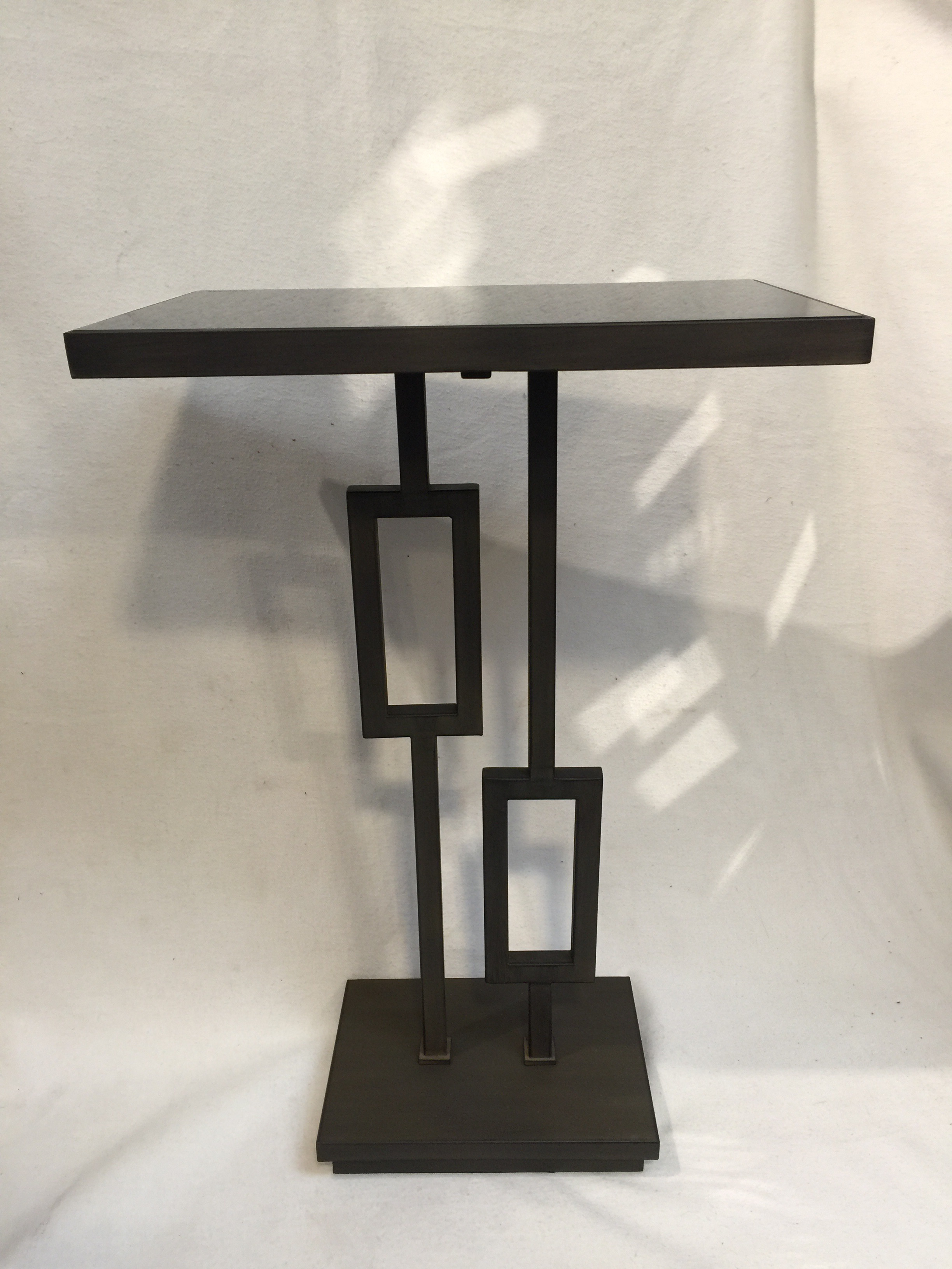 Marvelous Tall Drink Table Made Of Brownish Patinated Metal And Has Black Glass Top.  (also