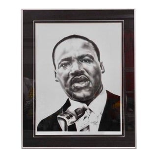 """""""Martin Luther King Jr."""" Portrait Pencil Signed and Numbered Lithoraph 258/1000 For Sale"""