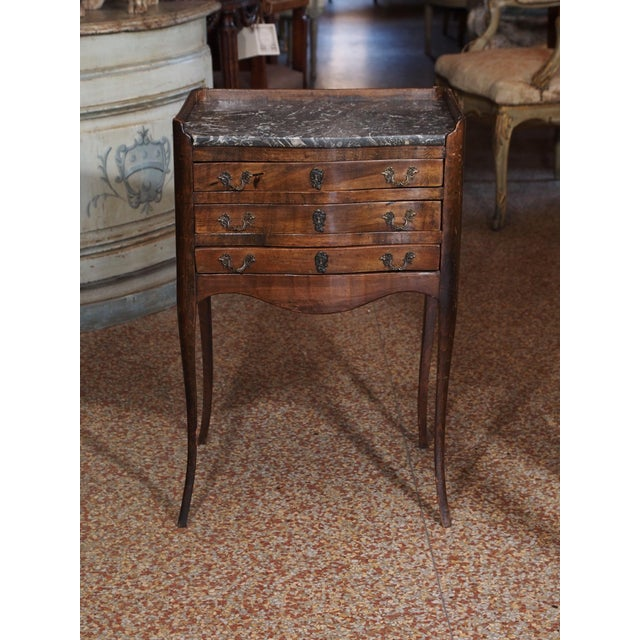 French 19th Century French Walnut and Marble Side Table For Sale - Image 3 of 9