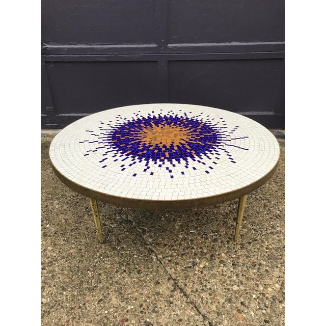 Amazing Mosaic Tile Sunburst Brass Coffee Table Luberto For Sale - Image 13 of 13