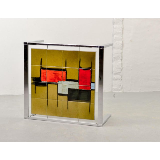 Ceramic Mid-Century Abstract Design Ceramic Side Table With Chrome Frame, 1970s For Sale - Image 7 of 11