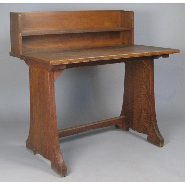 Brown Antique Arts & Crafts Oak Desk From Harvard Divinity School For Sale - Image 8 of 8
