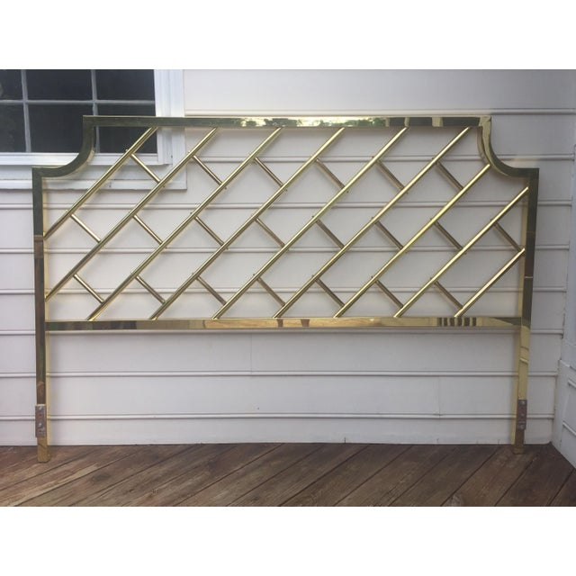 Brass Chippendale Style Brass King Headboard For Sale - Image 7 of 9
