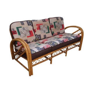 Vintage Imperial Reed Rattan Bow Arm Sofa