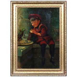 Antique Oil on Canvas Boy & Parrot Genre Painting, Artist Signed, Circa 1920 For Sale