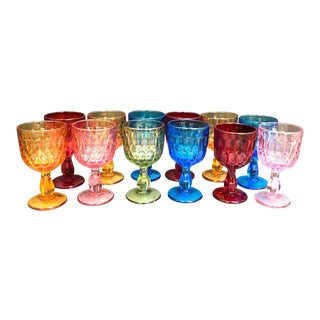 1960s Multicolored Glass Goblets - Set of 12 For Sale