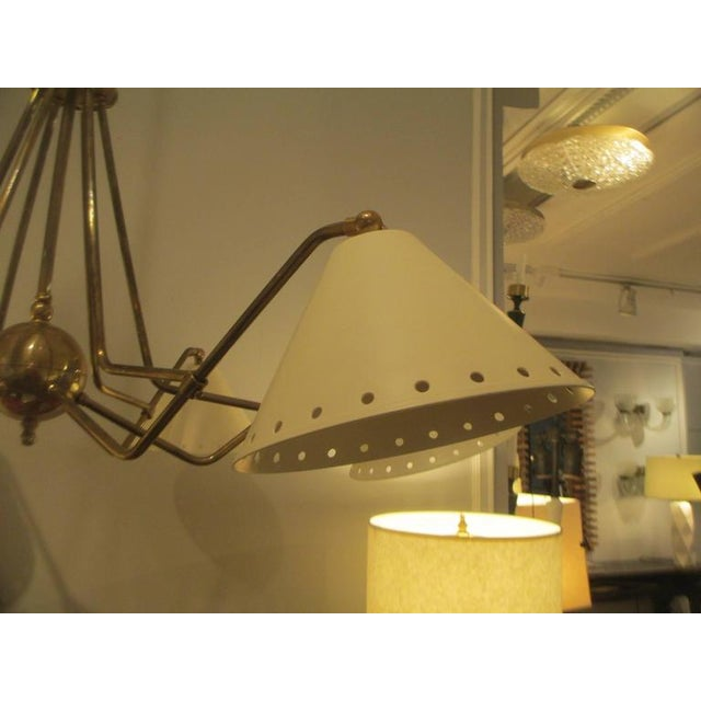 Custom Six-Light Brass and Tole Fixture in the Mid-Century Manner For Sale - Image 4 of 7