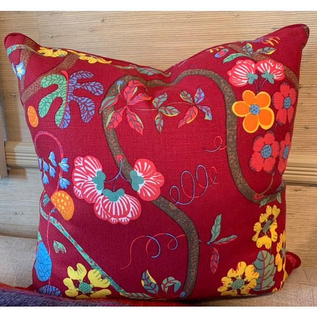 Josef Frank Barranquilla print linen pillow with grosgrain trim and 50/50 down/feather insert with hidden zipper.