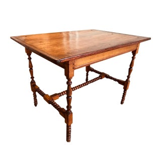 Country Spool-Turned Maple Tavern Table For Sale