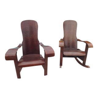 Móveis Cimo Brazil Wood Arm Chairs- A Pair For Sale