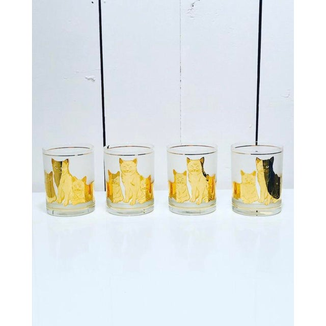 Vintage Mid-Century Modern 22k Gold Cat Etched Culver Glasses - Set of 4 For Sale In Seattle - Image 6 of 6