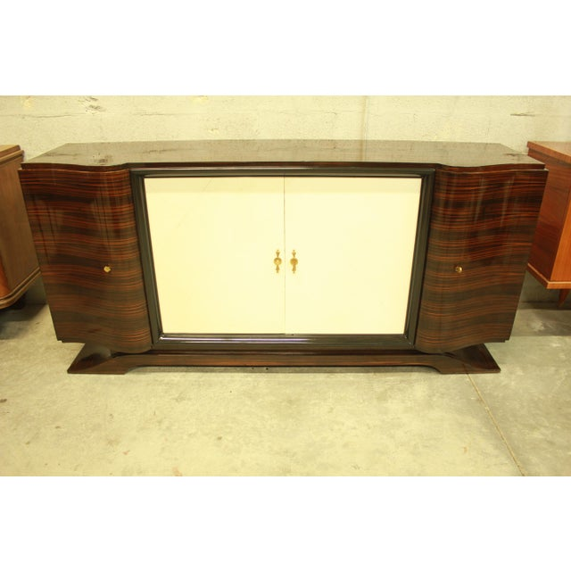 Classic French Art Deco Macassar Sideboard or Bar With Parchment Center Door By Maurice Rinck , Circa 1940s. - Image 7 of 11
